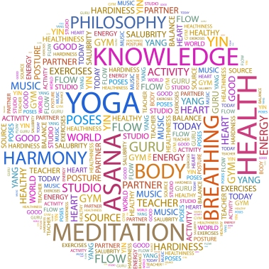 YOGA. Word cloud illustration. Tag cloud concept collage.